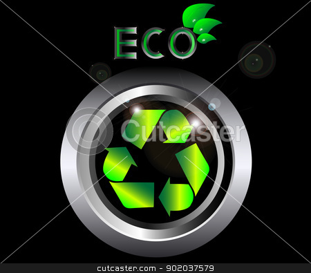 Recycle ecology Sign on black metal button vector illustration with eco sign with leaves and drops of water stock vector clipart, Recycle ecology Sign on black metal button vector illustration with eco sign with leaves and drops of water by vician