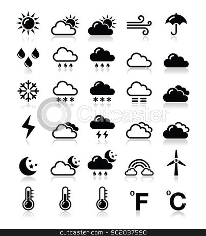 Weather icons set - vector stock vector clipart, Black icons set - weather conditions, seasons with reflection  by Agnieszka Murphy