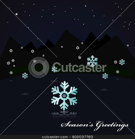 Snowing on the lake at night stock vector clipart, Illustration showing a night scene near some mountains, with snow falling and reflected on the still surface of a lake by Bruno Marsiaj