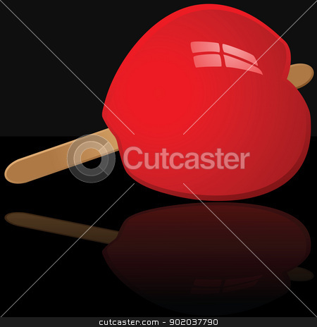 Candy apple stock vector clipart, Glossy illustration of a candy apple reflected over a black surface by Bruno Marsiaj