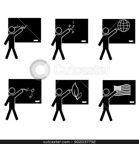 School icons stock vector clipart, Black and white icon set showing a teacher on a blackboard teaching different subjects: alphabet, math, geography, chemistry, biology and history. by Bruno Marsiaj