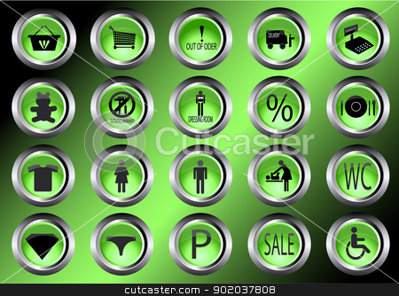 shopping mall icons vector illustration symbol shopping cart signs for shop signs for gas station button