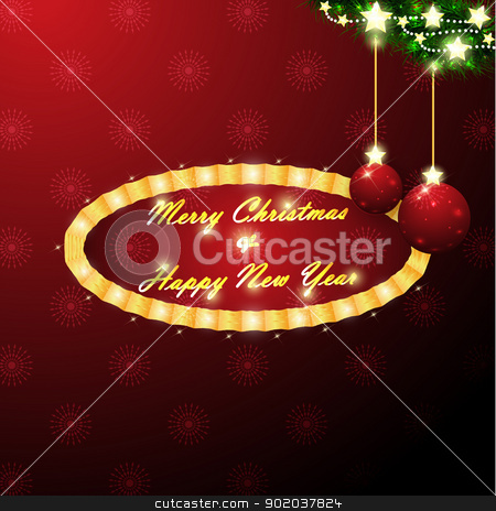 Red christmas balls stock vector clipart, An illustration of red christmas balls on a branch of christmas tree with a message in center by Elsyann