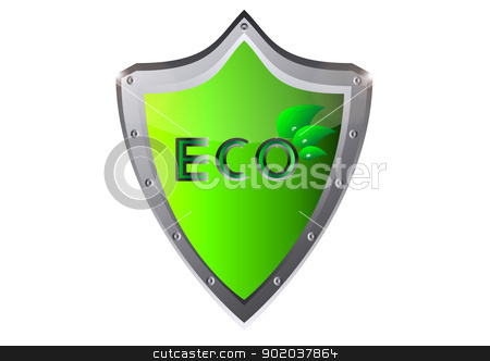 eco ecology logo green leaf vector illustration on on metal shield stock vector clipart, eco ecology logo green leaf vector illustration on on metal shield by vician