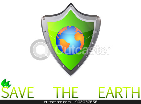 save Green Earth Planet on metal shield button vector illustration stock vector clipart, save Green Earth Planet on metal shield button vector illustration by vician