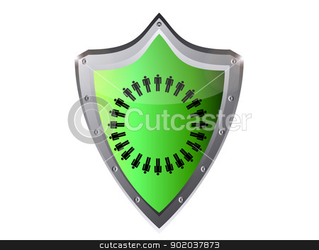 work force business work team concept sign vector illustration in black button shield stock vector clipart, work force business work team concept sign vector illustration in black button shield by vician