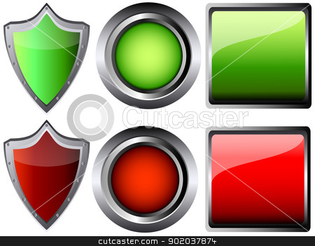 empty button and shield isolated vector illustration stock vector clipart, empty button and shield isolated vector illustration by vician