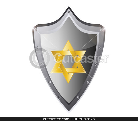 hebrew Jewish Star of magen david in black metal button vector illustration stock vector clipart, hebrew Jewish Star of magen david in black metal button vector illustration by vician