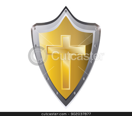 holy cross symbol of the Christian faith on a black metal button background vector illustration stock vector clipart, holy cross symbol of the Christian faith on a black metal button background vector illustration by vician
