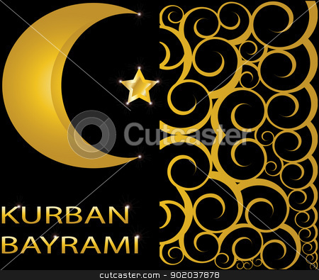 Kurban Bayrami muslim gold star and crescent on black background with swirls stock vector clipart, Kurban Bayrami muslim gold star and crescent on black background with swirls by vician