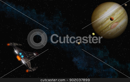 Fly to Jupiter stock photo, This image shows a spaceship to fly Jupiter by kirschner