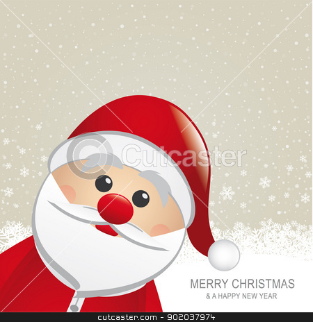 santa red hat snow snowflake background stock vector clipart, santa red hat snow snowflake snow background by d3images