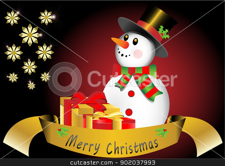 Christmas card with snowman stock vector clipart, Christmas card with snowman by vician