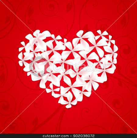 floral heart stock vector clipart, Beautiful  floral heart on a red  background by Miroslava Hlavacova