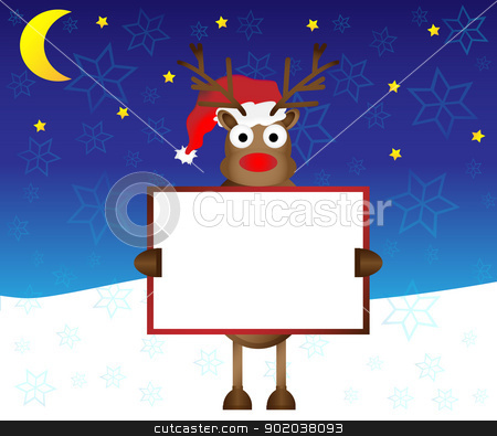 rednose happy red nose Reindeer deer holding blank paper card banner for your text vector illustration stock vector clipart, rednose happy red nose Reindeer deer holding blank paper card banner for your text vector illustration by vician