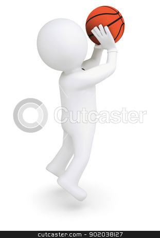 3d white human ready to throw a basketball stock photo, 3d white human ready to throw a basketball. Isolated render on a white background by cherezoff