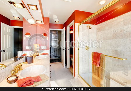 Bathroom with red walls and walk-in shower. stock photo, Bathroom with red walls and walk-in shower with beige tiles. by iriana88w