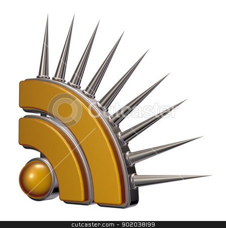 rss symbol stock photo, rss symbol with prickles on white background - 3d illustration by J?