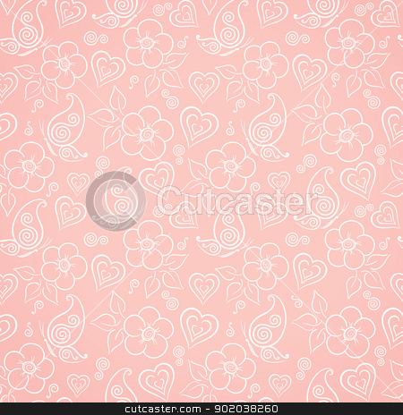 Decorative floral seamless pattern stock vector clipart, Delicate floral seamless pattern with flowers, butterflies and hearts by Allaya