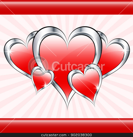 Red love hearts and sunburst stock vector clipart, Red love hearts symbolizing valentines day, mothers day or wedding anniversary on a starburst background. Copy space for text. by toots77