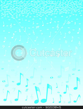 Snowing Music stock vector clipart, A selection of musical notes and symbols falling as if snow by Kotto