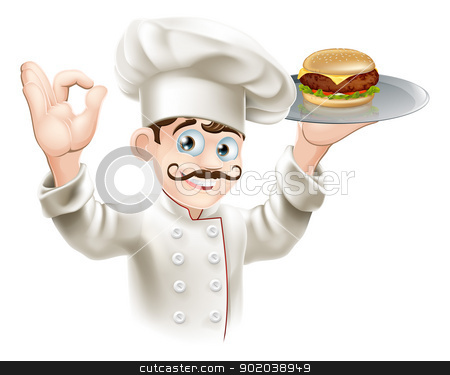 Chef with burger stock vector clipart, Illustration of a chef holding a gourmet burger on a tray by Christos Georghiou