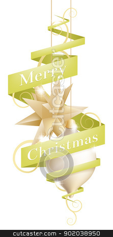 Christmas decoration design stock vector clipart, Beautiful Christmas tree decoration illustration with ribbon or scroll banner reading Merry Christmas by Christos Georghiou