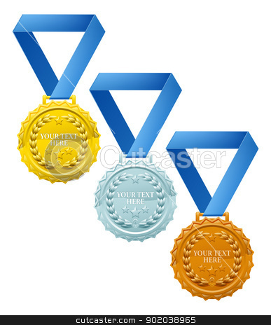 Medals stock vector clipart, Three winners medals, bronze silver and gold, with laurel wreaths and space for your text by Christos Georghiou