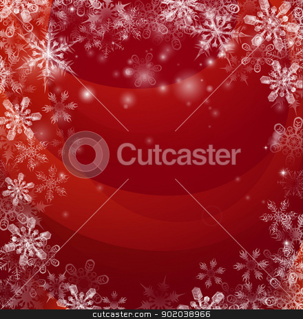 Red Christmas snow background stock vector clipart, Illustration of an abstract red background with snow falling in the form of snowflakes forming a border or frame with copyspace in the centre. by Christos Georghiou