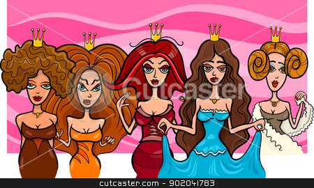 Fantasy Princesses or Queens stock vector clipart, Cartoon Illustration of Five Beautiful Princesses or Queens Fairytale Fantasy Characters by Igor Zakowski