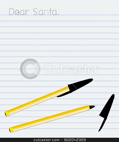 Letter To Santa stock vector clipart, The start of a a little childs letter to santa by Kotto