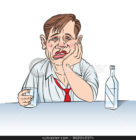 Businessman stock photo, Sad businessman with a bottle. Illustration in color on white by dvarg