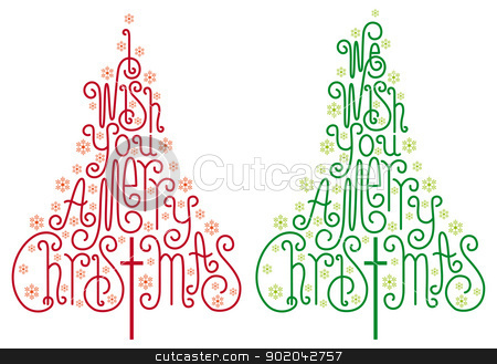 Christmas trees, vector stock vector clipart, Christmas trees with hand drawn letters and snowflake, vector  by Beata Kraus