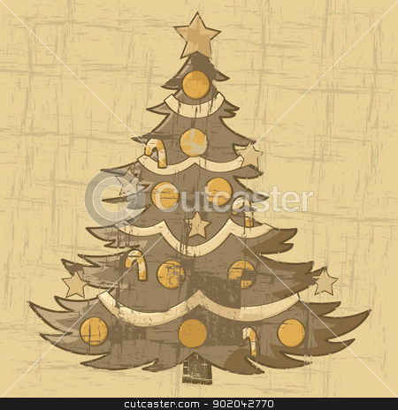 Vintage Christmas tree stock vector clipart, Cartoon illustration of a Christmas tree on an old brown paper by Bruno Marsiaj