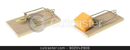 Mousetrap stock photo, An empty mousetrap and a set mousetrap with a cube of cheddar cheese, isolated on a white background. by Richard Nelson