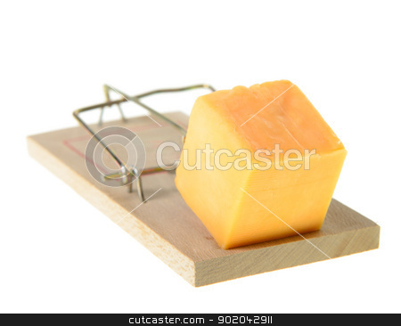 Set Mouse Trap stock photo, A set mouse trap with cheddar cheese, isolated on a white background. by Richard Nelson