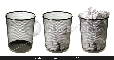 Empty To Full Garbage Cans stock photo, Three garbage cans going from empty to full, isolated on a white background. by Richard Nelson
