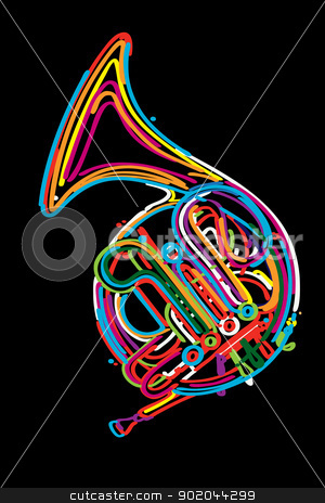 French horn stock vector clipart, French horn instrument design in colors by Richard Laschon