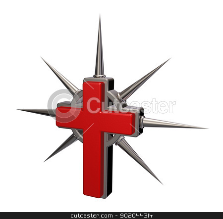 christian cross stock photo, christian cross with metal thorns on white background - 3d illustration by J?