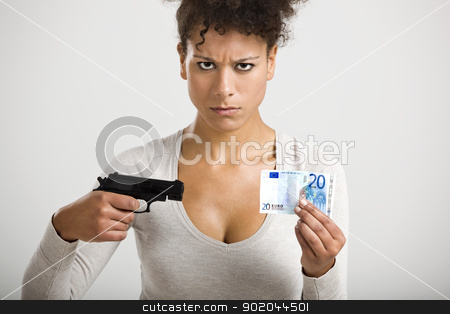 Shooting money stock photo, African woman shooting a euro banknote, great concept for the global crises by ikostudio
