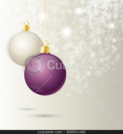 Christmas balls stock vector clipart, Background with Christmas ball and snowflakes, illustration.  by Miroslava Hlavacova