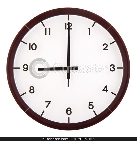 Analog clock stock photo, Classic analog clock pointing at 9 o'clock, isolated on white background by szefei