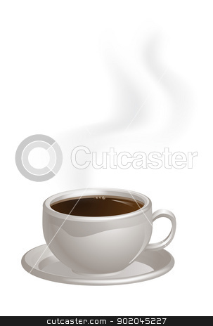 Steaming Coffee Cup on Saucer stock vector clipart, An illustration of a cup of steaming black Coffee on a saucer by Christos Georghiou