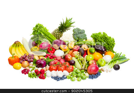 Fruits and Vegetables stock photo, Group of fruits and vegetables shot on white. by Scott Little