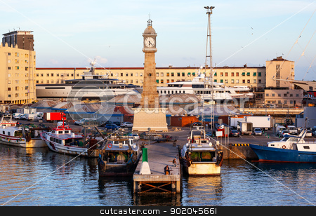 Clock Tower Barcelona Harbor Spain stock photo, Clock Tower in the Barcelona Harbor, Spain.  At one end of the La Rambla, the Clock Tower is in the Barcelona Harbor. by William Perry