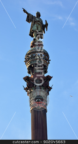 Columbus Pointing Pillar Monument Barcelona Spain stock photo, Columbus Monument, Monument A Colom, Columbus Statue Pointing on Top Pillar, Barcelona, Spain.  At one end of the La Rambla, the monument was completed for the Universal Exposition in 1888 and is located at the spot where Columbus returned to Spain after his first trip to the Americas. by William Perry