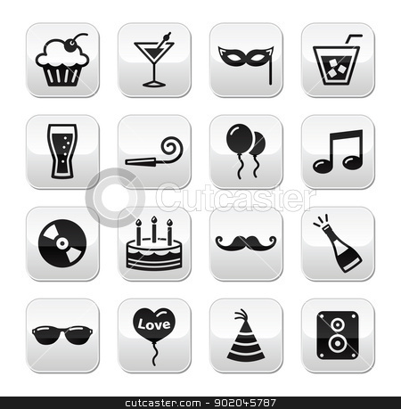 Party, birthday, New Year's, Christmas buttons set stock vector clipart, Christmas, valentines, birthday, new year's celebration icons on modern grey buttons by Agnieszka Murphy