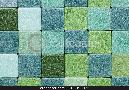 green glass tiles stock photo, background of green frosty glass mosaic tiles by Marek Uliasz
