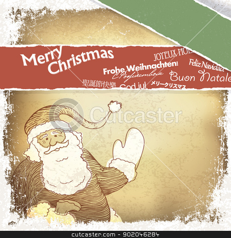 Retro Santa Claus greetings in different languages. Vector, EPS1 stock photo, Retro Santa Claus greetings in different languages. Vector, EPS10 by pashabo
