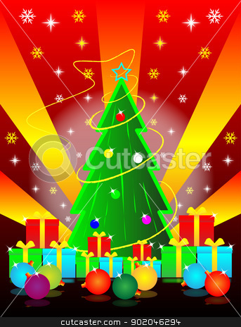 christmas tree and gift box  stock photo, christmas tree and gift box for celebration christmas  by Cherdchoosak Ngernsiam